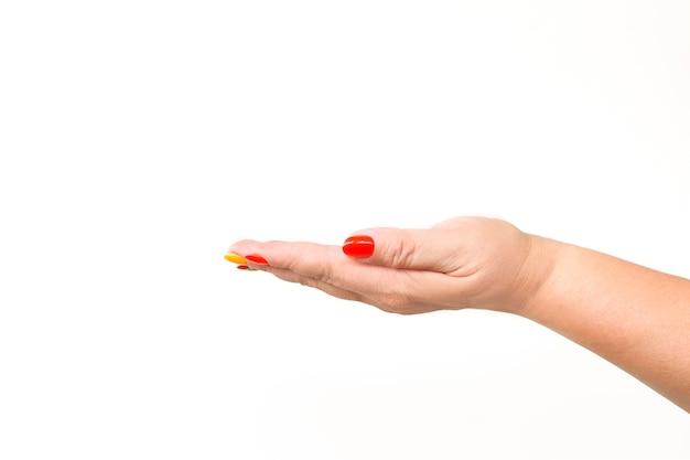 Leere weibliche hand. auf weißem hintergrund isolieren.