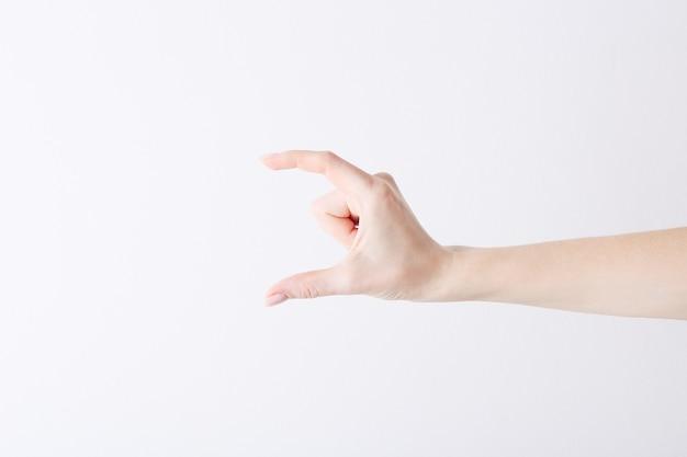 Leere weibliche hand, die geste macht, als würde sie etwas auf weiß halten.