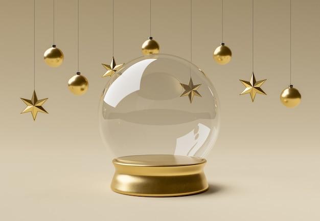 Leere weihnachtskugel mit ornamenten für die produktpräsentation