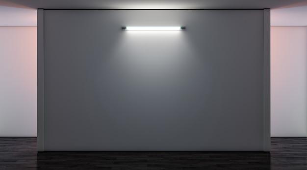 Leere weiße galeriewand mit lampe im dunkelmodell leeres museum beleuchtetes leinwandmodell