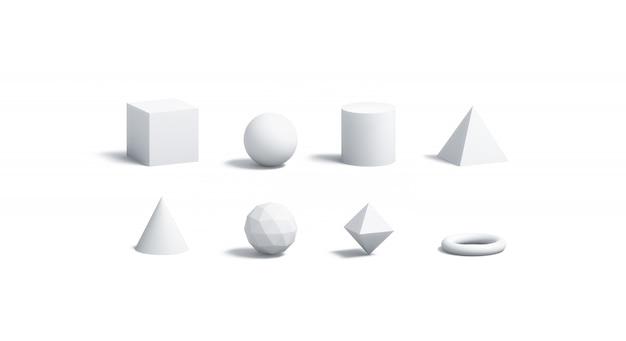 Leere weiße geometrische formen gesetzt, isoliert