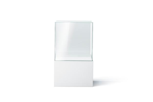 Leere weiße glasvitrine, isoliert, vorderansicht, 3d-darstellung. leeres präsentationspodest. klare transparente ausstellungsbox. glasvitrine für boutique oder galerie.