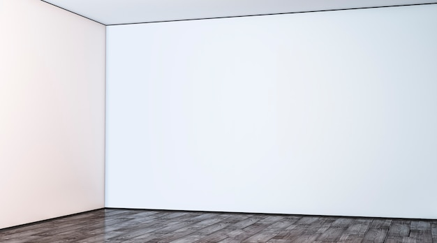 Leere weiße große galeriewandecke im hallenmodell leerer hallenwinkel und boden im lobbymodell