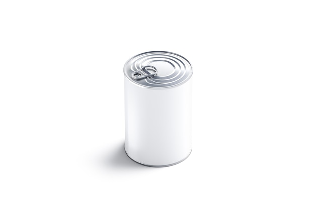 Leere weiße große konservendose mit deckel, isoliert, 3d-rendering. leere caned box mit fleisch, seitenansicht. klarer kondensmilch- oder suppenbehälter mit öffner