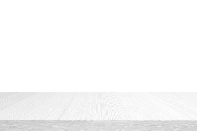 Leere weiße hölzerne tischplatte, schreibtisch lokalisiert auf weiß