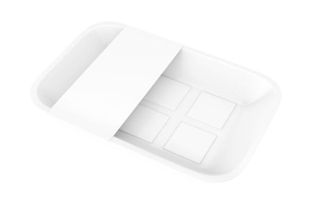 Leere weiße kunststoff-lebensmittelbehälter-tray-paket mit leerem etikett für ihr design auf weißem hintergrund. 3d-rendering