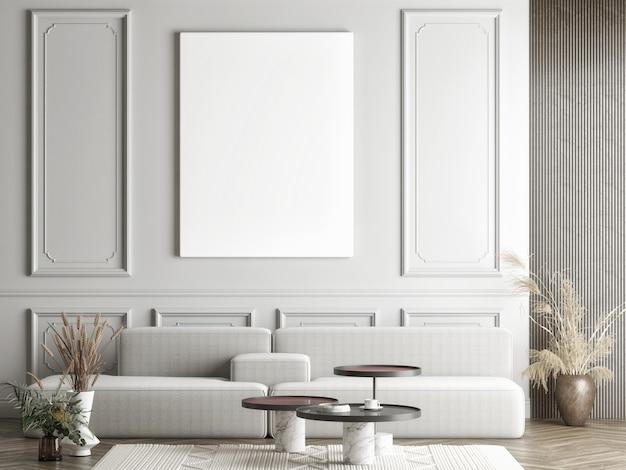 Leere weiße leinwand auf dem wohnzimmerkonzept der grauen wand mit heimtextilien Premium Fotos
