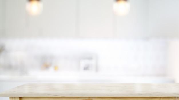 Leere weiße marmorplattentabelle im modernen küchenraumhintergrund.