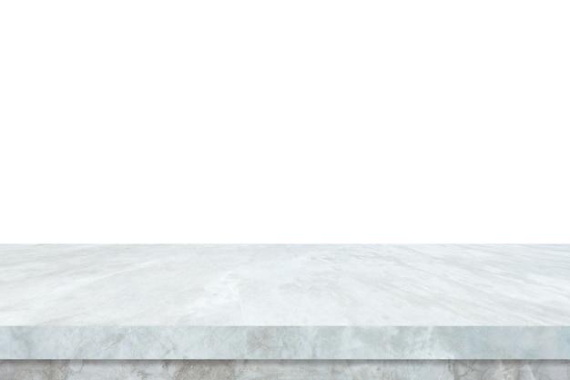 Leere weiße marmorsteintabelle lokalisiert auf weißem hintergrund