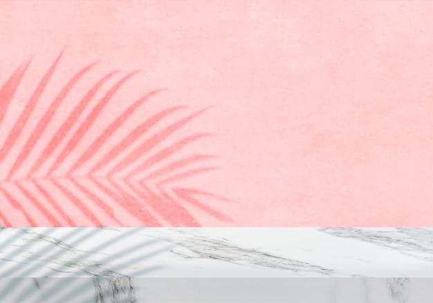 Leere weiße marmortischplatte mit schattenrosa texturhintergrundprodukthintergrund