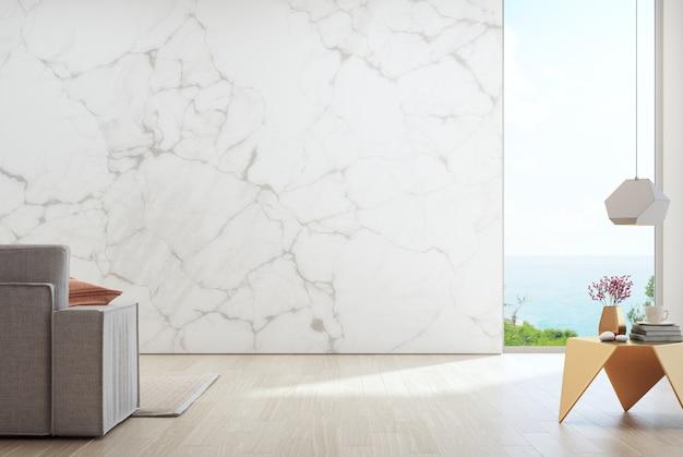 Leere weiße marmorwand gegen sofa im ferienheim- oder feiertagslandhaus.