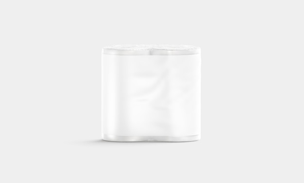 Leere weiße papiertuchpackung mit etikett, vorderansicht