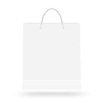 Leere weiße papiertüte mit dem griff lokalisiert