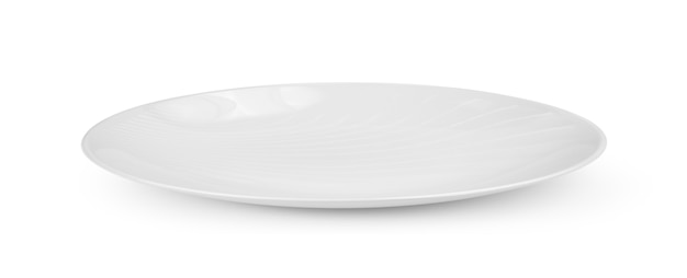 Leere weiße platte auf weißer wand