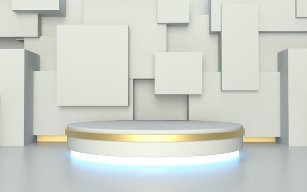 Leere weiße podium-produktanzeige des 3d-renderers mit abstraktem hintergrund der geometrie