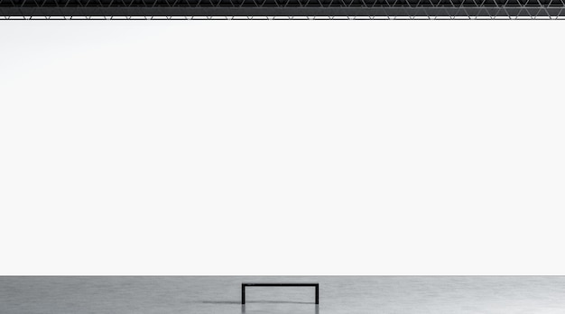 Leere weiße riesige galeriewand mit bank im museumsmodell leere riesige ausstellungsanzeige im hallenmodell