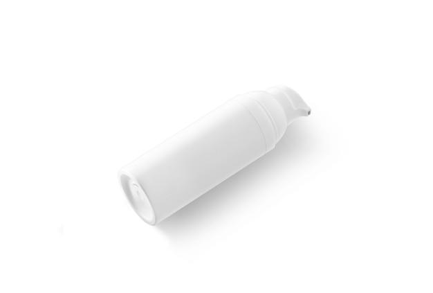 Leere weiße sahneflasche liegend, seitenansicht
