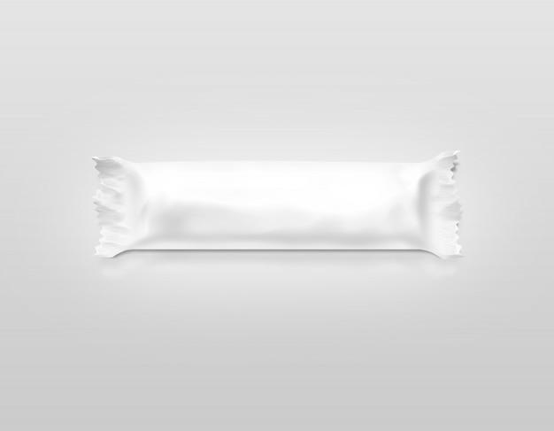 Leere weiße schokoriegel-plastikfolie isoliert