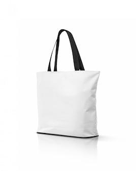 Leere weiße segeltuch-einkaufstasche lokalisiert auf weißem hintergrund