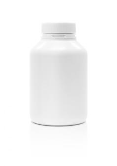 Leere weiße verpackungsergänzungsproduktflasche lokalisiert auf weißem hintergrund