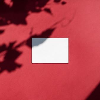 Leere weiße visitenkarte verspotten mit blattschatten auf rotem hintergrund