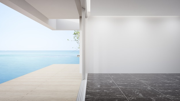 Leere weiße wand auf leerem schwarzen marmorboden des großen wohnzimmers