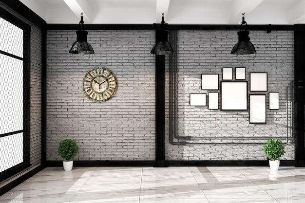 Leere weiße wand des modernen dachbodens