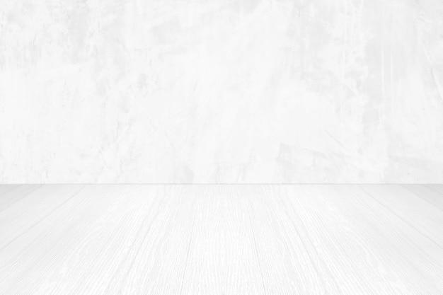 Leere weiße zementwand und holzbodenhintergrund