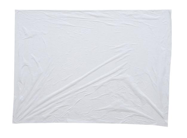 Leere weiße zerknitterte und zerknitterte aufkleberpapierplakatbeschaffenheit lokalisiert auf weißem hintergrund