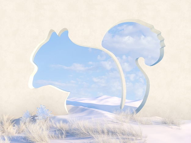 Leere winterweihnachtsszene mit eichhörnchenformrahmen.