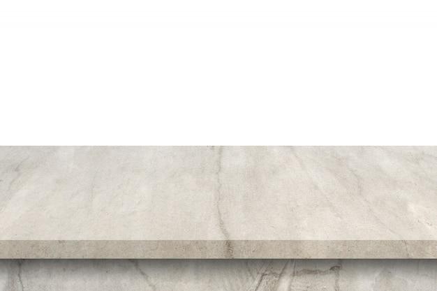 Leere zementtabelle auf lokalisiertem weißem hintergrund mit kopienraum und anzeigenmontage für produkt.