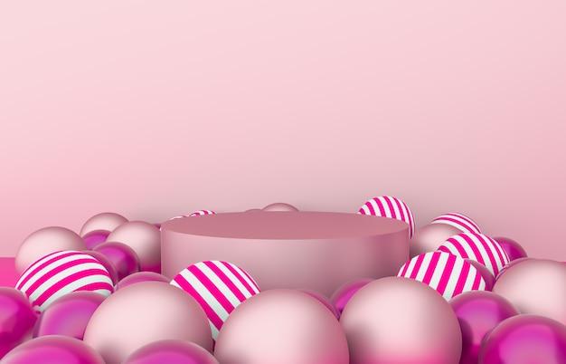 Leere zylinderbox mit weihnachtskugelhintergrund. ausstellungsszene für luxuskosmetikprodukte. 3d rendern.