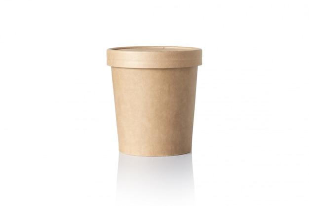 Leeren sie den runden papierlebensmittelbehälter, der auf weiß lokalisiert wird