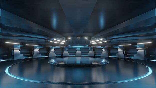 Leeren sie hellblauen studioraum futuristischen großen hallenraum sci fi mit den blauen lichtern