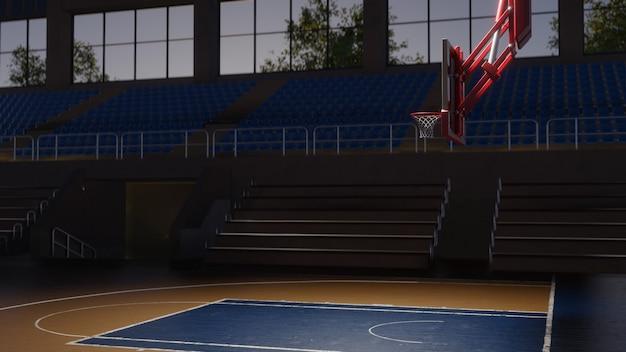 Leerer basketballplatz im sonnenlicht. sportarena. 3d rendern hintergrund