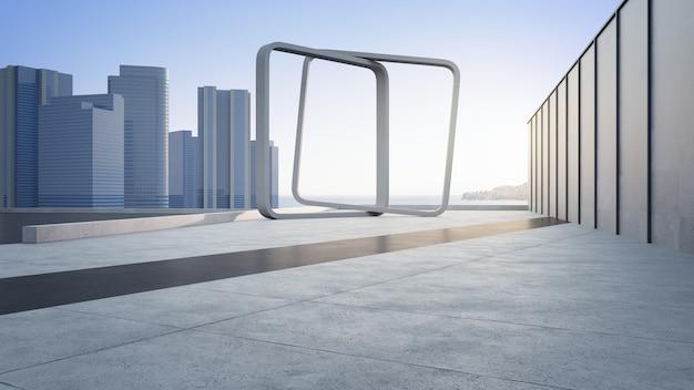 Leerer betonboden und graue wand. 3d-rendering des meerblickplatzes mit klarem himmelshintergrund.