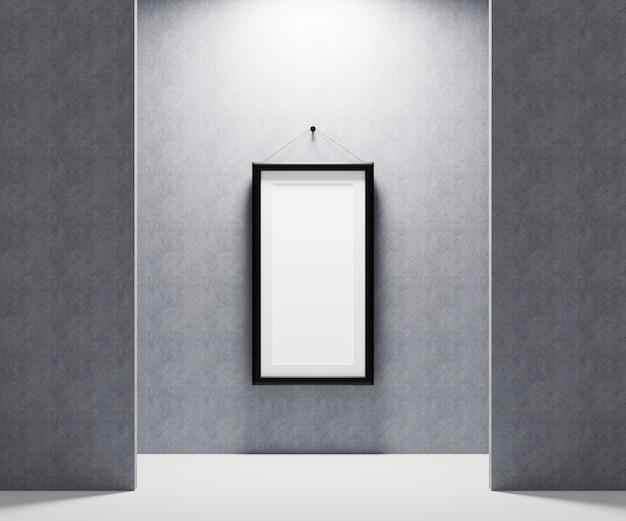 Leerer bilderrahmen an der wand zum einfügen ihres fotos. 3d-renderillustration.