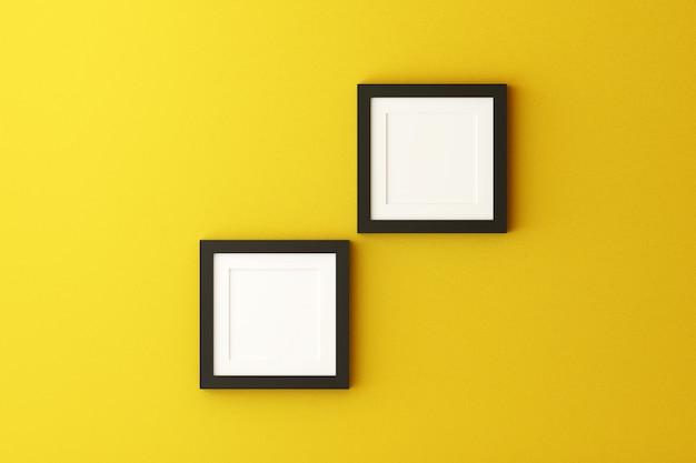 Leerer bilderrahmen, der an der wand in einem wohnzimmer hängt.