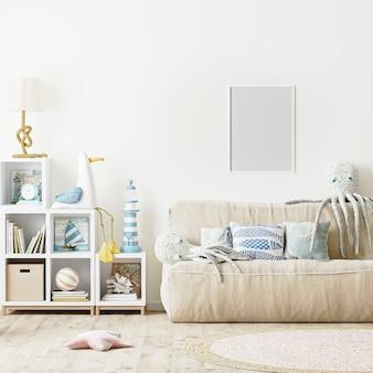 Leerer bilderrahmen im modernen kinderschlafzimmerinnenraum 3d-rendering
