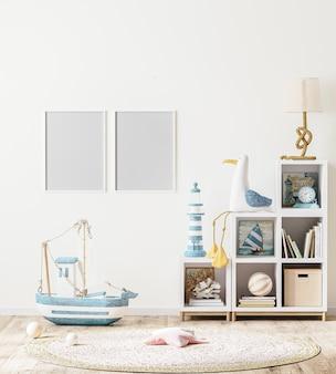 Leerer bilderrahmen im skandinavischen kinderzimmer mit kinderregal mit büchern und spielzeug, 3d-rendering