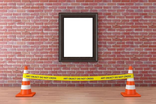 Leerer bilderrahmen mit gelbem klebeband überqueren sie die polizeilinie nicht mit straßenkegeln im museum auf einem roten backsteinmauerhintergrund. 3d-rendering