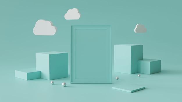 Leerer bilderrahmen mit zylinderpodium. abstrakter geometrischer hintergrund für anzeige oder modell. 3d-rendering.