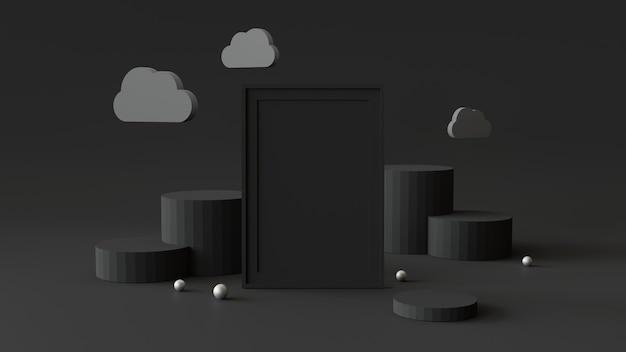 Leerer bilderrahmen mit zylinderpodium. abstrakter geometrischer hintergrund für anzeige oder modell.