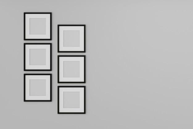 Leerer bilderrahmen verspotten auf der weißen wand. 3d-rendering.