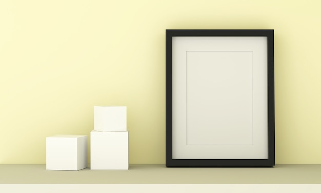 Leerer bilderrahmen zum einfügen von text oder bild und kubisch auf pastellgelber farbe.