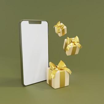 Leerer bildschirm des 3d-smartphones mit 3d-rendering der geschenkbox