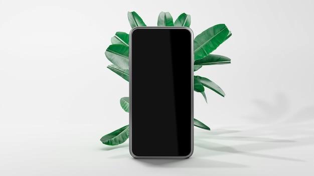 Leerer bildschirm des smartphone-modells für die anwendungspräsentation. 3d-illustration. vorderansicht. modell isoliert auf weißem hintergrund. abstrakte minimalszene mit fallenden blättern