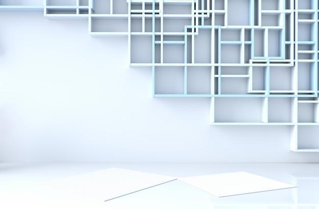 Leerer blau-weißer raumdekor mit blauer regalwand, 3d übertragen