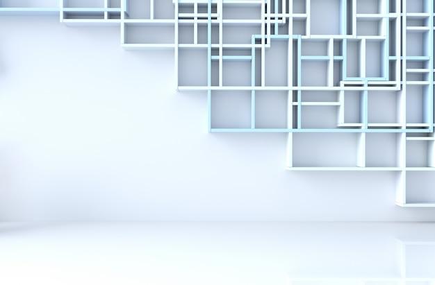 Leerer blau-weißer raumdekor mit blauer regalwand, fliesenboden, 3d übertragen