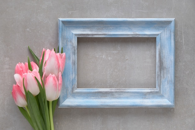 Leerer blauer rustikaler holzrahmen mit den gestreiften weißen und rosa tulpen